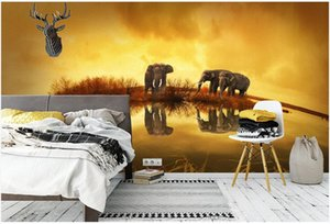 Wholesale african home decor walls resale online - Custom d photo wallpaper mural on the wall African grassland lake elephant background home decor living room wallpaper for walls d