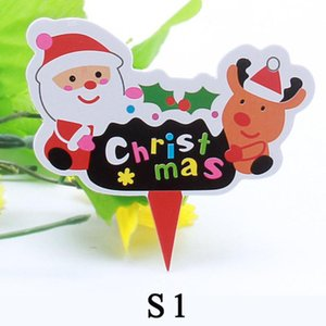 Wholesale cake flags for sale - Group buy 50 Merry Christmas Decor Flag Birthday Cake Gift Home Children Kids Santa Snowman Flags