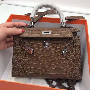 Wholesale new design handbags clutches resale online - New Design Fashion Women Handbags Real Leather Bags Women Alligator print inlay Shoulder Bags More Colors