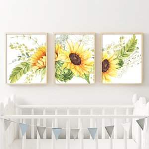 Wholesale painting sunflowers for sale - Group buy Sunflower Wall Art Canvas Posters Nursery Kitchen Farmhouse Decor Watercolor Flowers Art Painting Pictures Home Decoration