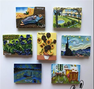 Wholesale magnetic paints for sale - Group buy Fridge Magnets World famous painting series Van Gogh famous painting sunflower star sky resin refrigerator paste three dimensional magnetic