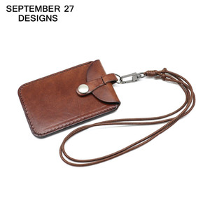 Wholesale name tag business for sale - Group buy Vertical Style ID Badge Holder Genuine Leather Business Case cowhide Card Holders Name Tag id card lanyard Retractable Lanyard
