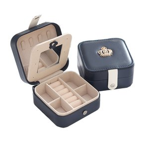 Wholesale travel jewelry box leather for sale - Group buy Simple Korean Creative Travel Portable Jewelry Box Earrings Leather Jewelry Storage Box PU Small Jewelry Bag