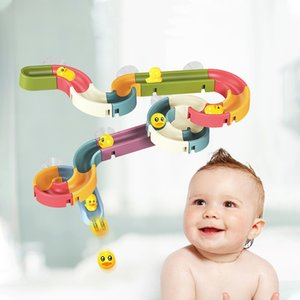 Wholesale duck toys for kids resale online - Bath Toys Baby Bathroom Duck DIY Track Bathtub Kids Play Water Games Tool Bathing Shower Wall Suction Set Bath Toy for Children