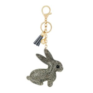 Wholesale cute korean charms for sale - Group buy Cute Child Small Gift Rhinestone Keychain Pendant New Korean Flannel Fresh Tassel Bag Charm