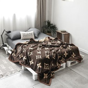 Blanket Double layer Thicken Coral fleece complex Blanket fashion letter printing Keep warm Nap Blanket Machine washable new style