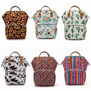 Sunflower Diaper Bag Leopard Stripe Mummy Backpack Waterproof Outdoor Nappy Bag Large Capacity Backpack Travel Bag Handbag Baby Care YFA450