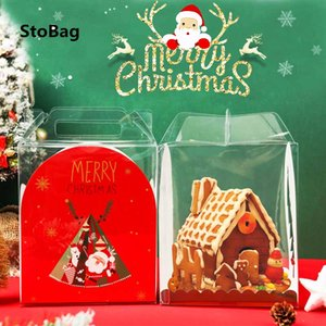 Wholesale red biscuits resale online - StoBag Merry Christmas Transparent Protable Box Santa Claus New Year Gift Baby Shower Party Red Green Candy Biscuit Pack