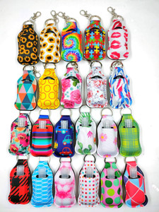 Wholesale print portable for sale - Group buy 2020 New Neoprene Softball Printing Keychains Hand Sanitizer Bottle ML Portable Mini Bottles Holders Keyrings Party Favor Keychain