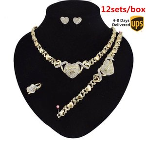 12 Sets Box earrings for women jewelry clearance necklaces set Earrings 14K Gold plated jewelry set for women wedding jewelries