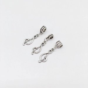 Wholesale alloy 5mm beads resale online - 100Pcs alloy music Note Charms Big Hole beads Dangle Charms For Jewelry Making findings Hole mm