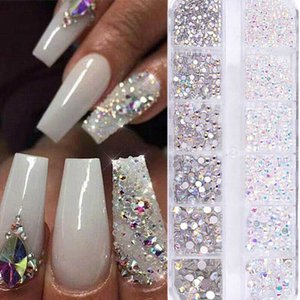 Wholesale acrylic rhinestones for sale - Group buy 12 Grids Nail Crytals Rhinestones Mixed Size D Glitter Glass Gems DIY Acrylic Nail Art Decorations AB Color Flat back Stones