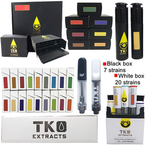 TKO Extracts Vape Cartridges 0.8ml 1.0ml Black White Tip Atomizers Packaging Ceramic Coil Thick Tank Oil Carts Dab Pen Wax Vaporizer Empty Vapes E Cigarettes 510 Thread