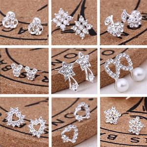 With Card Pack Ear Back, 45 Styles Korean Earrings Creative Super Shiny Diamond New Pearl Stud Earrings Fashion Jewelry High Quality a023