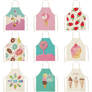 Personalized Aprons Ice Cream Dessert Black Female Couples Kids Bib Canvas Kitchen Apron For Cooking Baking Restaurant Pinafore