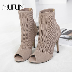Wholesale black ankle peep toe booties for sale - Group buy Stretch Fabrics Stiletto Solid Color Women s Ankle Boots High Heels Peep Toe Knit Sock Booties Shoes Woman Sexy Slim Lady Boots CX200820