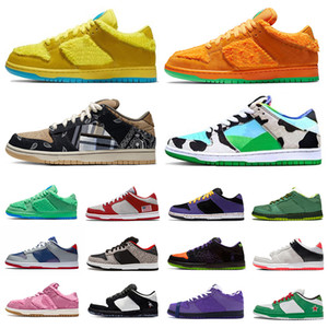 kadınlar gündelik spor ayakkabıları toptan satış-SB DUNK Orange Bear Ben Jerry s X Chunky Dunky Low Mens sports designer sneakers dunks Panda Pigeon Safari Tie Dye Infrared Shadow women men Casual shoes