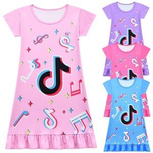 4 color 202 summer vibrato TikTok short-sleeved skirt girls mid-length pajamas dress children's ruffle skirt 80230 Baby Kids Clothing