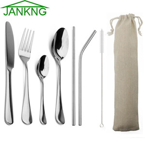 Wholesale piece flatware for sale - Group buy JANKNG Pieces Silver Flatware with Metal Straw Stainless Steel Tableware Knife Fork Spoon Dinnerware Travel Rainbow Cutlery