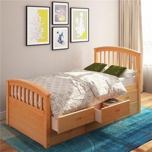 Wholesale kid beds for sale - Group buy DHL ORIS FUR Twin Size Platform Storage Bed Solid Wood Bed with Drawers For Kids Adult SG000116LAA