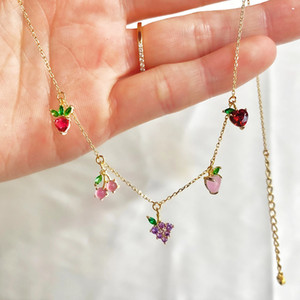 Wholesale gold fruit resale online - Cubic Zirconia Choker Necklace CZ Grape Cherry Banana Peach Bling Women Fashion K Gold Plated Luxury Iced Out Fruit Pendant Collar Jewelry