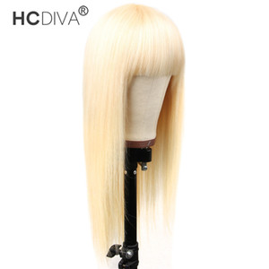 Wholesale weave making machines resale online - HCDIVA Human Hair Bang Wigs Color Blonde Brazilian Virgin Remy Straight Weave inch Full Machine Made Lace Front Wigs