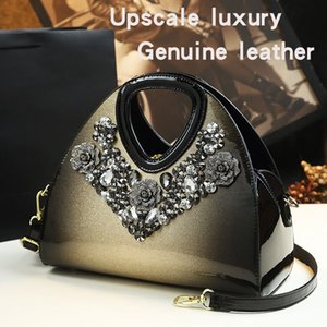 Wholesale age gold resale online - High Grade Leather Women s Bag With Diamond Pure Leather Shoulder Bag Handbag Temperament Messenger Middle Aged