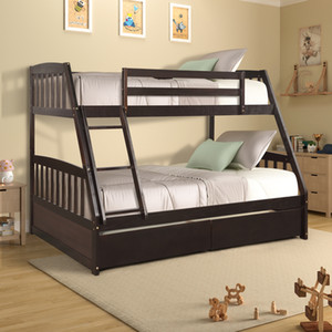 Wholesale solid wood beds resale online - US Stock Solid Wood Twin Over Full Bunk Bed with Two Storage Drawers Modern Dorm Home Living Beds with Ladders Fast Shipping SH000092PAA