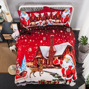 Wholesale christmas bedding resale online - Super Soft Snowflake Bedding Christmas Day Duvet Cover Set Reindeer Santa Snowman Bed Set King Queen Twin Bedding