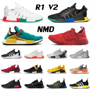 Wholesale pharrell sneakers size resale online - New Arrival NMD R1 V2 Classic Pharrell Williams Human Race Hu Trail Mens Womens Running Shoes Human Races Size Trainers Sneakers