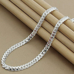 S925 Sterling Silver Chain Necklace 6mm Full Sideways Cuban Link Necklace 50cm Chain for Woman Men Fashion Hip Hop Jewelry