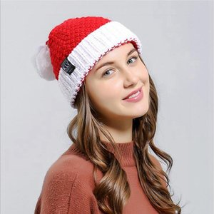 Wholesale red hat christmas ornaments resale online - Knitted Christmas Plush Hat Autumn Winter Santa Woolly Caps Red Halloween Creative Gift Ornaments Decoration Xmas Cap DDA416