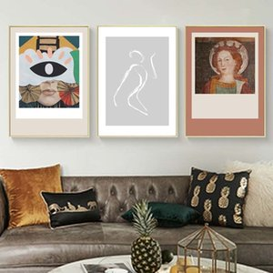 Wholesale body art abstract resale online - Abstract Women Wall Art Poster And Prints Canvas Painting Figure Body Line Drawing Picture European For Living Room Home Decor