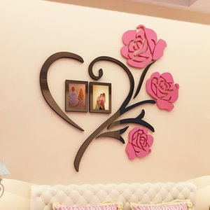 Wholesale wall stickers flowers resale online - 3D Creative Flower Wall Sticker Wedding Room Romantic Decoration Quality Acrylic Wallpapers Living Room Wallsticker DIY Art Gift
