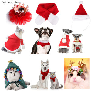Wholesale dog hats resale online - Christmas Gift Pet Dress Winter Warm Christmas Dog Clothe Dog Cat Clothing Funny Santa Pets Apparel christmas decorations