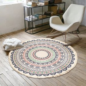 Wholesale mats for living room for sale - Group buy Macrame Round Carpet for Living Room Bohemia Bedroom Rugs Classic Tassel Cotton Linen Rug Prayer Floor Mats Hand Woven Carpets