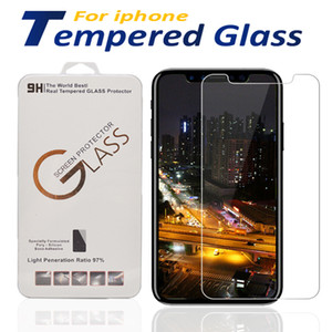 For iPhone 12 11 Pro Xs Max X XR 8 plus Screen protector tempered glass For Samsung J7 J5 prime with Paper Box