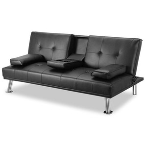 Wholesale leather recliners for sale - Group buy DHL Black Convertible Sofa Bed with Armrest Cup Holders Metal Legs Recliner Couch Home Furniture W36814055