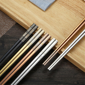 pauzinhos de aço coreano venda por atacado-Luxo Aço Inoxidável Pauzinhos Anti rolante Laser Gravura Coreano Hollow Chopsticks Fortune Gold Chopstick Food Sticks Tableware