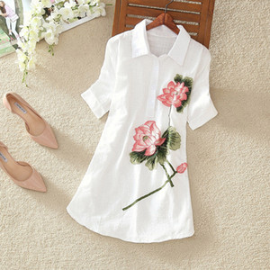 White Long Shirt Women Office Blouse Plus size Cotton Linen Vintage Embroidery Short sleeve Ladies Summer Tops Casual 4XL 5XL Y200828