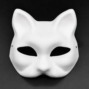 cartoon-papier gesichtsmaske großhandel-DIY Papiermasken Maskerade Halloween Masken Party Cosplay Cartoon Maske Karneval Ball Gesicht Frauen Carnaval Masque Prop Ewf654
