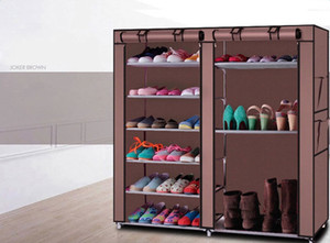 Wholesale metal shelves resale online - Double Layer Shoe Boot Closet Rack Shelf Storage Organizer Cabinet Portable Shoes Storage Holder Non Woven Fabric Anti Dust Rack Hot