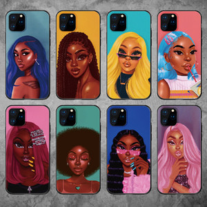 Wholesale wines case resale online - Phone Cases For iPhone mini Pro X XS XR Max Fashion Black Girl Soft TPU Phone Cover For iPhone Plus