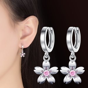 Wholesale cherry blossom earrings resale online - 100 sterling silver fashion Cherry blossoms crystal ladies stud earrings women jewelry female wedding gift cheap