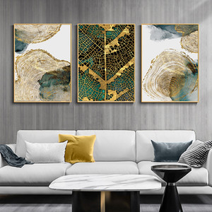 Wholesale painting textures for sale - Group buy Leaf and Trunk Texture Abstract Wall Art Gold Canvas Poster Print Nordic Decorative Picture Painting Modern Living Room Decor