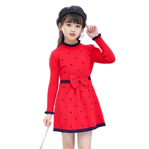 Wholesale cute teenage dresses resale online - Girls Knitted dress autumn winter girls sweater dresses kids teenage party clothes children elegant bow cute heart printed y