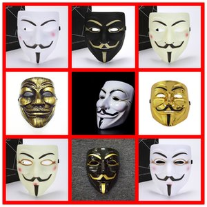 Wholesale guy fawkes masks resale online - new mask Vendetta white yellow Mask Anonymous Guy Fawkes Fancy Adult Costume Halloween Masks Masquerade V Masks For Halloween DHB1269