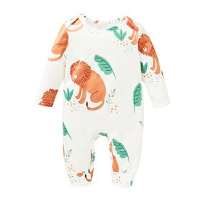 Wholesale kiss cartoon for sale - Group buy Infant Baby Jumpsuits Kiss Cartoon Prined Rompers Newborn Cartoon Lion Long Sleeve Jumpsuit Toddler Onesies Ropa Bebé