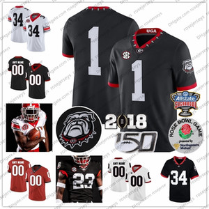 Custom Georgia Bulldogs Football 2020 UGA 40TH 100TH Blankenship Fromm Swift George Pickens Stetson Bennett IV Zamir White JT Daniels Jersey