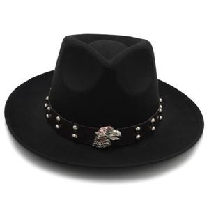 Fashion Fascinator Felt Fedora Hat for Dad Men Winter Autumn Chapeu Feminino Jazz Hat Gentleman Sombrero Dad Eagle Punk Belt